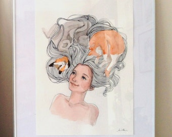 Original Watercolor Artwork - hair with cats