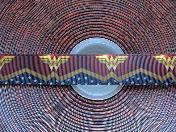 "WONDER WOMAN Inspired 7/8"" 22mm Grosgrain Hair Bow Craft Ribbon 782678"