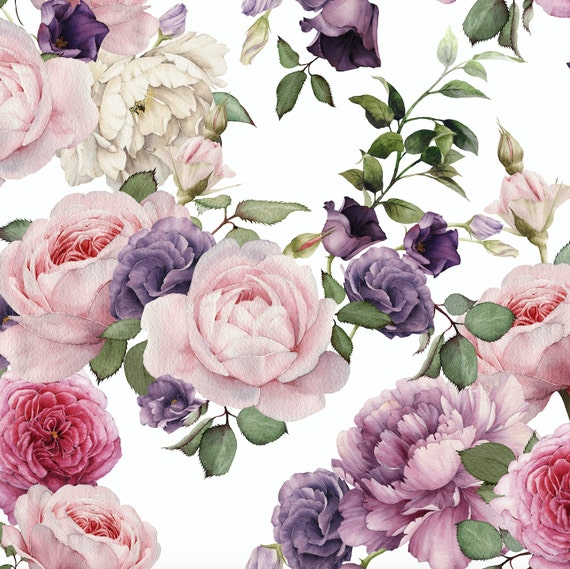 Watercolor Floral Wallpaper Pink Roses Removable Wallpaper