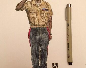 KillerBeeMoto: Pen and Ink With Water Color Original Sketch of U.S. Marine. 1 of 1