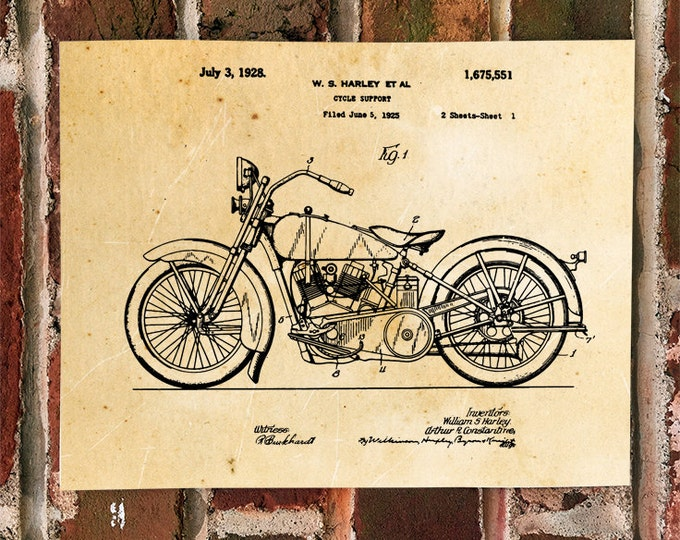KillerBeeMoto: Duplicate of Original U.S. Patent Drawing For 1920's Harley Davidson Motorcycle