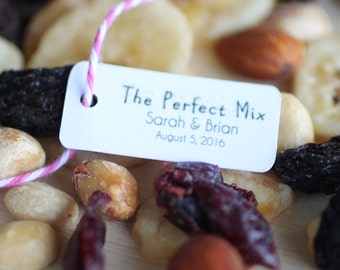 Wedding favor tags for trail mix, trail mix favor tags, personalized tags, diy favors, the perfect mix
