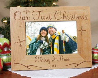 Personalized Our First Christmas Photo Frame, Wood