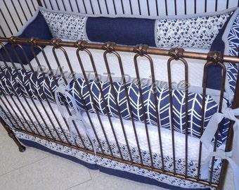 Tribal Navy, Gray & Soft Aqua Baby Bedding Set for Boys