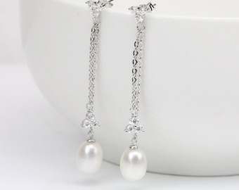 long pearl earrings,bridal pearl earrings,8mm drop pearl wedding earrings,crystal flower earring,brides earrings,pearl bridesmaid earrings