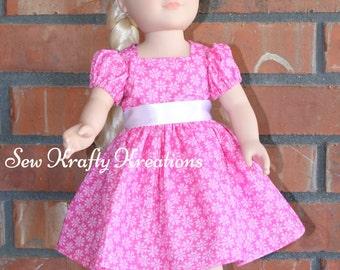 """Pink Flower Doll Dress for 18"""" doll like American Girl"""