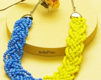 Blue and yellow strand beaded necklace, handmade
