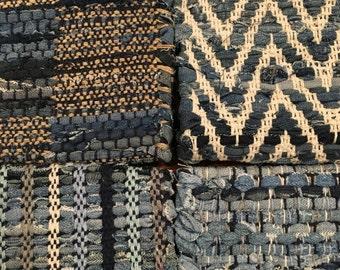 Hand Woven Denim Rag Rug 21 x 33 inches - Chindi Rug - Scandanavian Rug - Woven Rug