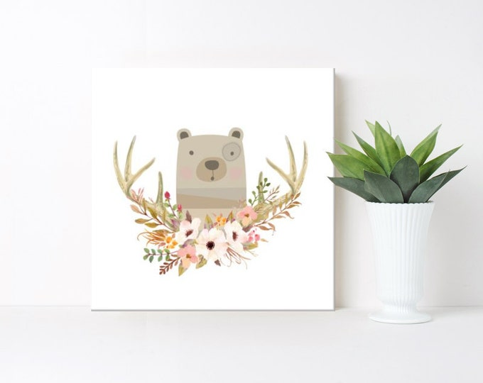 Nursery/Children's art, boho, Bear , Floral Wreath, print, canvas, framed #379