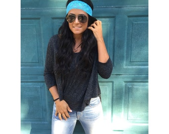 Thin Lace Stretch Headbands for Women and Girls- Blue