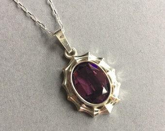 Sterling Silver Purple Stone Pendat