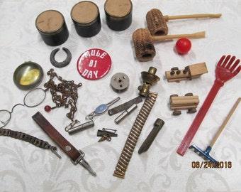 Vintage Junk Drawer Lot Assortment Tin Cans Corn Cob Pipe Mixed Lot Jewelry Key Fob Pins