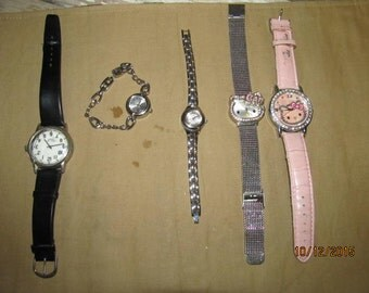 Vintage Lot Assortment Watches Jewelry Findings Sanrio Hello Kitty Allude Assorted Watches