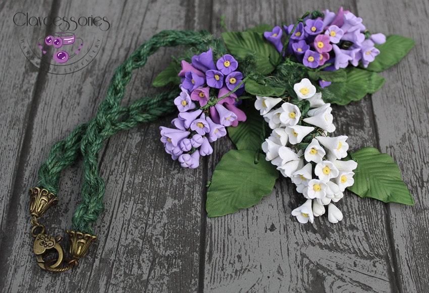Lilas Necklace / Flower necklace / Floral necklace / Lilac branch necklace / Polymer clay necklace