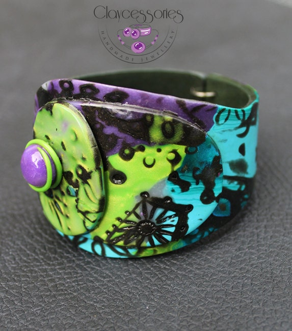Cuff Bracelet / Summer bracelet / Beach bracelet / Colorful bracelet / Bangle / Polymer clay bracelet