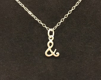 Tiny Sterling Silver Ampersand Charm Necklace, Delicate Cursive Ampersand Pendant, Whimsical Font Charm, Minimalist Necklace