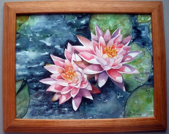 Waterlilies Watercolor Painting