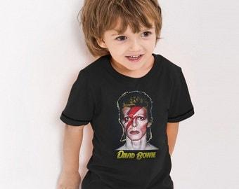 David Bowie Ziggy Stardust Vintage Retro Graphic UK Glam Punk Rock Music Cute Kids Boy Girl T-Shirt Tee Tops