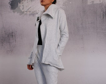 Sweatshirt, Asymmetric coat, Asymmetric jacket, Woman coat, Heather gray vest, white blazer by UrbanMood - TA-001A-QC