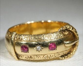 SALE Antique 18k Victorian Ruby and Diamond Buckle Ring Hallmarked Birmingham, 1899