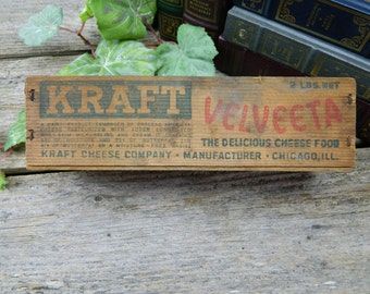 Vintage Kraft Velveeta Wood Processed Cheese Box