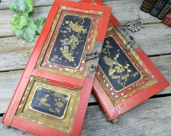 Set of 2 Vintage Japanese Painted Panel Door Fronts - Wall Hanging