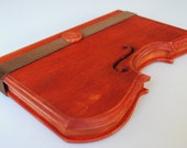 Wooden notebook violin silhouette mahogany tone