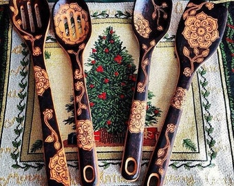 Woodburned Spoons Set of 4