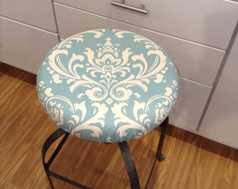 Damask print elasticized round barstool cover, kitchen counterstool seat cover, various colors available, washable cotton fabric