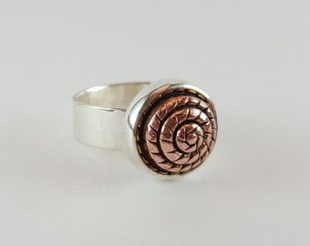 Silver and copper beehive ring