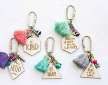 Charm, Quote and tassel Keychains - Double Sided, hand painted tassel geometric keychain, triangle, summer