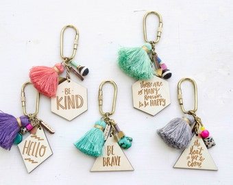 Charm, Quote and tassel Keychains - Double Sided, hand painted tassel geometric, gift for her, bridesmaids gifts, handpainted keychain,