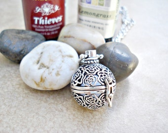 Silver Aromatherapy Necklace ~ Silver Rose Essential Oil Necklace - Silver Plated Jewelry