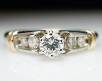 Unique Vintage Diamond Engagement Ring White & Yellow Gold Solitaire Engagement Ring Hebrew Style Ring