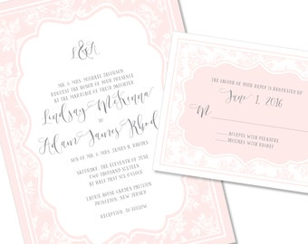Soft Romantic Floral Wedding Invitation | Sophisticated Wedding Invitation | DIY Option Available | Invitation | RSVP | Info Card #134
