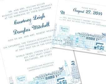Baltimore Skyline / Landmark Wedding Invitation | Charm City Wedding Invite | DIY Option Available | Invitation | RSVP | Info Card #365