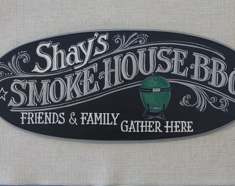 8x20 Custom Made Completely Hand Painted Wood Barbecue/Smokehouse Sign