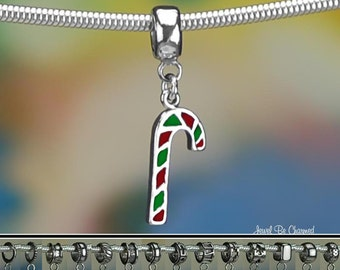 Sterling Silver Red and Green Candy Cane Charm or European Bracelet