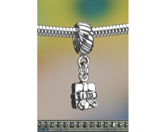Tiny Wrapped Gift Present Sterling Silver Charm or European Bracelet