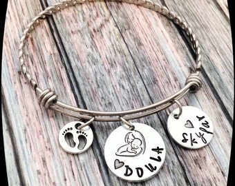 Doula Jewelry, Doula Bangle Bracelet, Midwife Necklace, Baby, Birth, Gift, Hand Stamped, Doula Professional Bangle