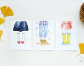 """Set of 3 illustrated postcards """"Shoes"""" by Esencia custome"""
