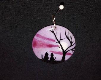 Nightscene cats, tree & moon handpainted ceramic pendant
