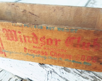 Vintage Wooden Windsor Club Processed Cheese Food Box Crate