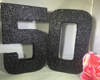 Glittered Numbers-50-50th Birthday Decor-Birthday Photo Prop-50th Birthday-Black Glitter Numbers-Over the Hill Party Decor
