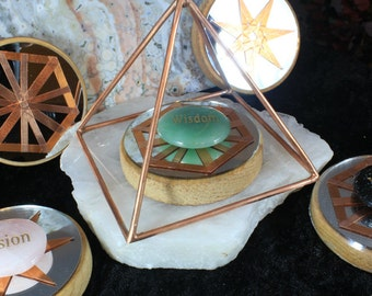 """4"""" Copper Pyramid Collection with Mirror Base and Word Soothing Stone"""