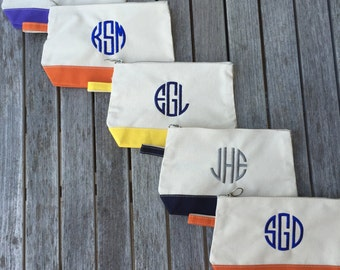 Monogrammed Canvas Cosmetic Make Up Bag Clutch