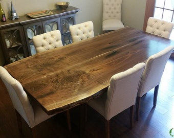 "42"" x 84"" CUSTOM 2-Slab Bookmatched Live Edge Walnut Dining Table with Low Profile Metal Legs"