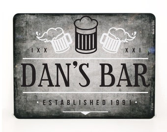 "Personalized Bar Sign-  Metal Sign - 9"" x 12"" - Man Cave Decor, Established Sign, Street sign, Gift for Dad, Gift for Men, Hunting Decor"