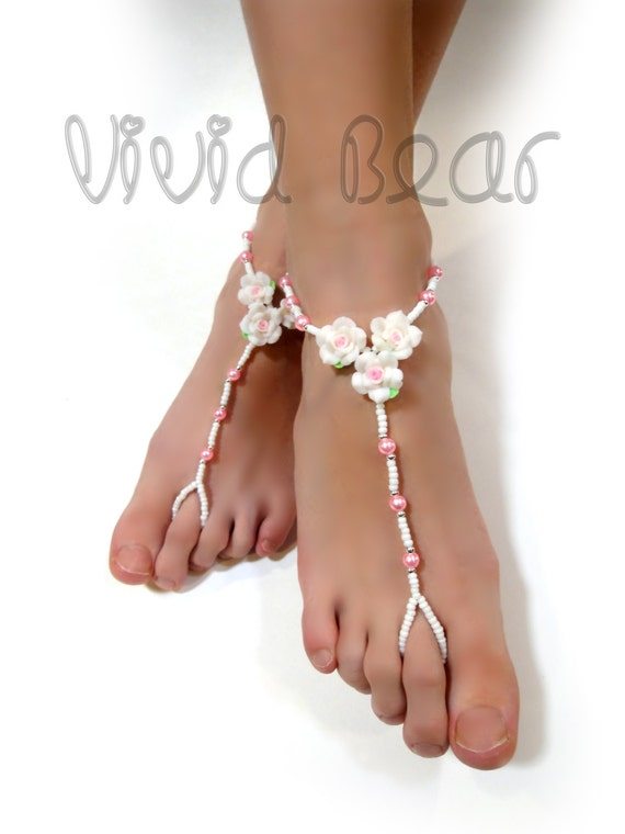 Wedding Beaded Barefoot Sandals Foot Jewelry Anklets Pink