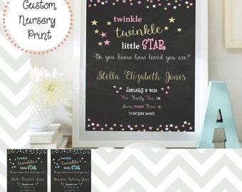 Twinkle Twinkle Gold Stars Custom Nursery Print